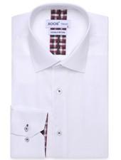 XOOS CLASSIC-FIT white dress shirt scottish clan lining