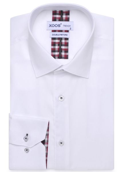 XOOS CLASSIC-FIT white dress shirt scottish clan lining