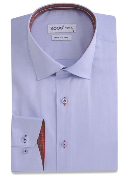 XOOS CLASSIC-FIT lightblue dress shirt scottish clan lining