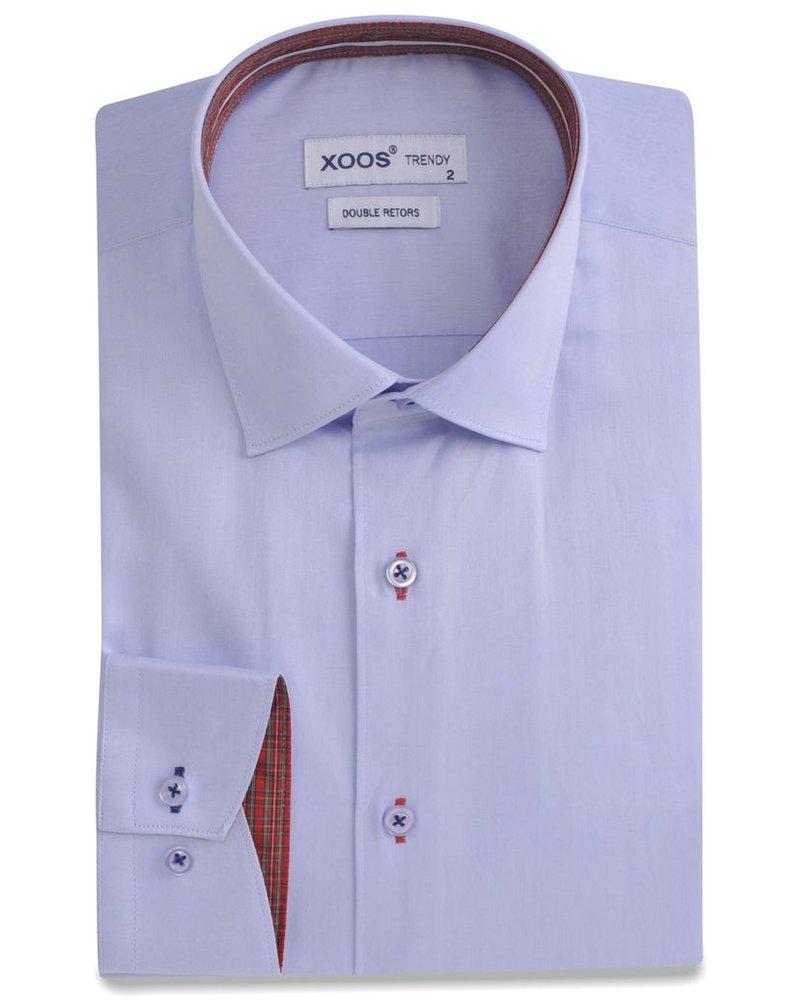 XOOS CLASSIC-FIT lightblue dress shirt scottish clan lining