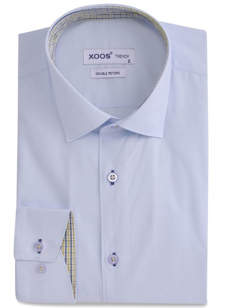 XOOS CLASSIC-FIT lightblue dress shirt yellow squared lining