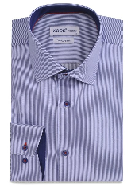 XOOS CLASSIC-FIT striped blue dress shirt red lining
