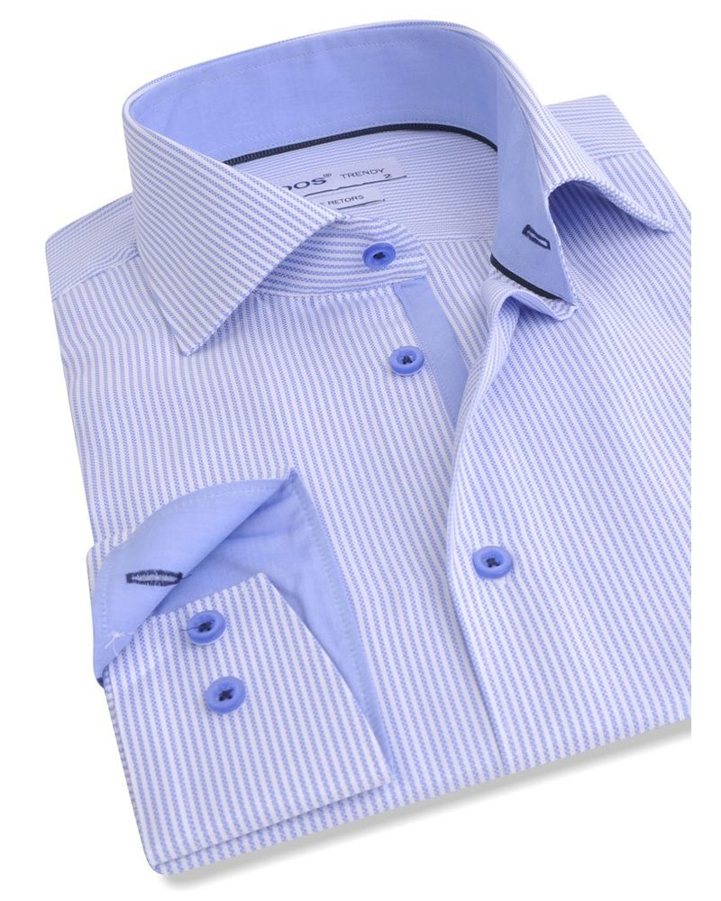 XOOS CLASSIC-FIT striped lightblue dress shirt navy lining