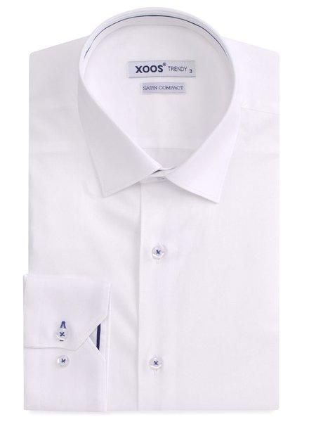 XOOS White men's dress shirt navy lining