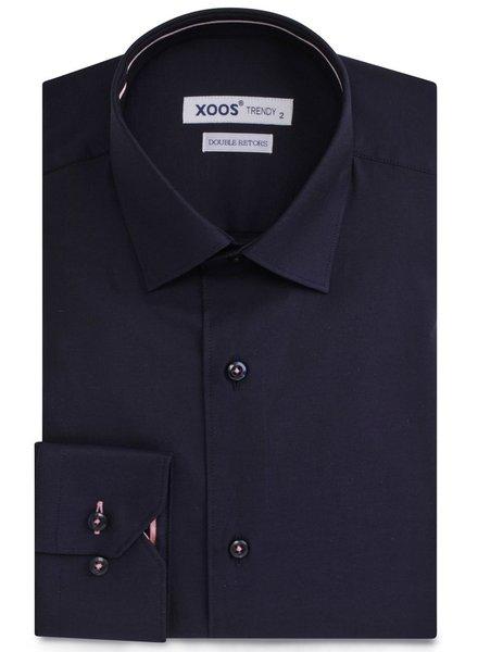 XOOS Navy blue men's dress shirt pink lining
