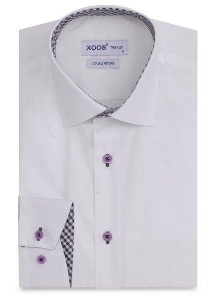 XOOS White men's dress shirt purple gingham lining