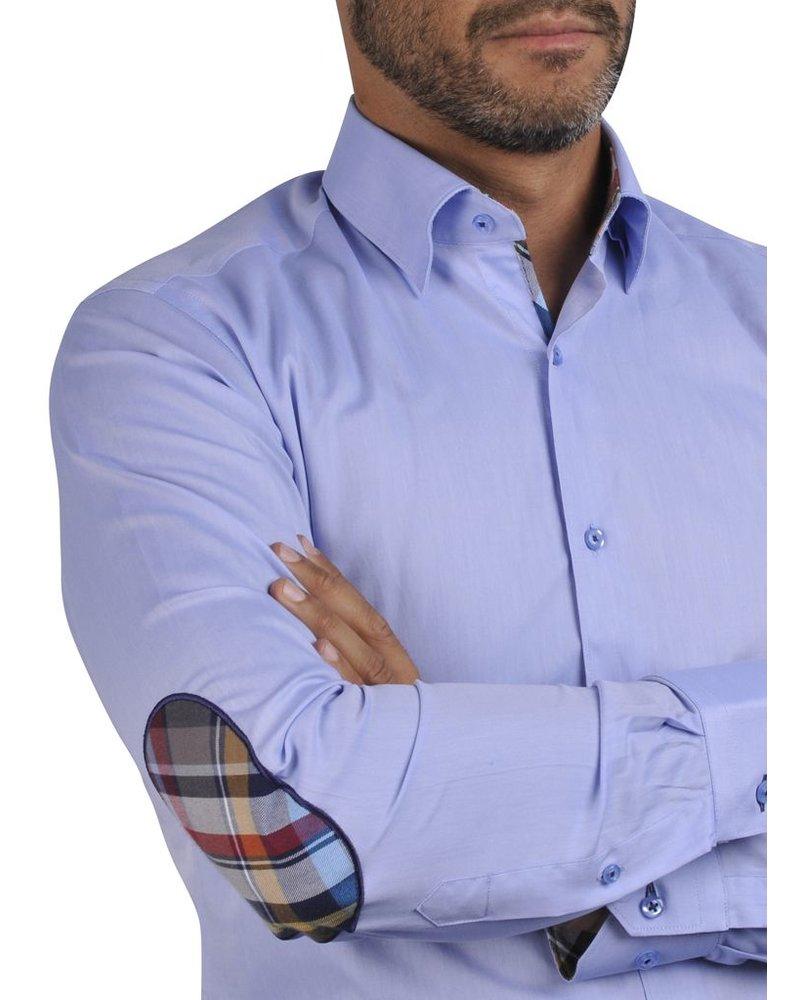 XOOS Chemise homme cintrée bleue à coudières et doublure Madras