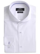 XOOS CLASSIC-FIT white men's dress shirt blue braid