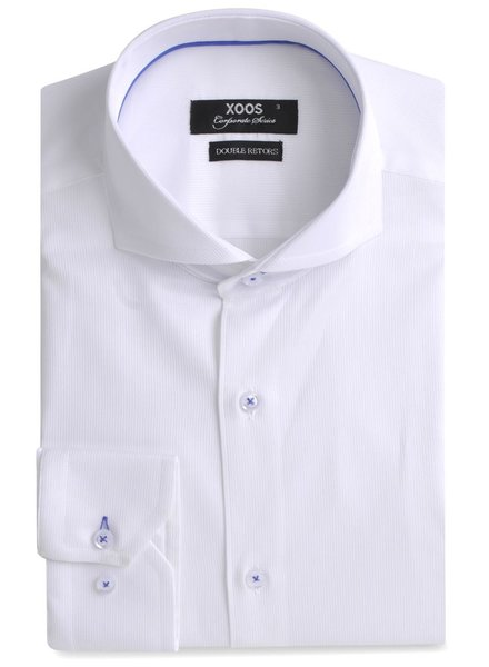 XOOS CLASSIC-FIT white men's dress shirt blue braid