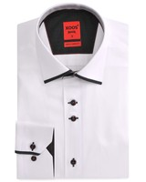 XOOS CLASSIC-FIT white men's dress shirt and black Edge Collar