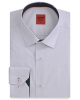 XOOS CLASSIC-FIT white men's dress shirt micro squares