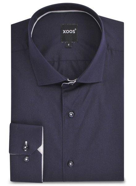 XOOS CLASSIC-FIT navy blue men's dress shirt white polka dots braid