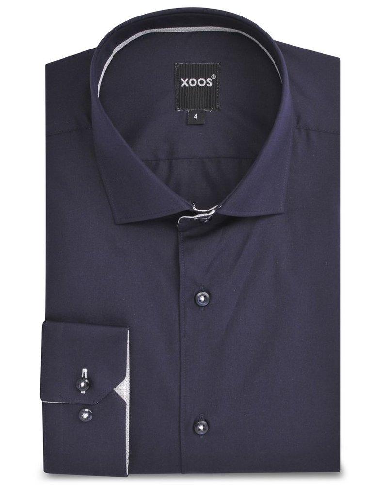 Classic fit navy blue men 39 s dress shirt white polka dots for White military dress shirt
