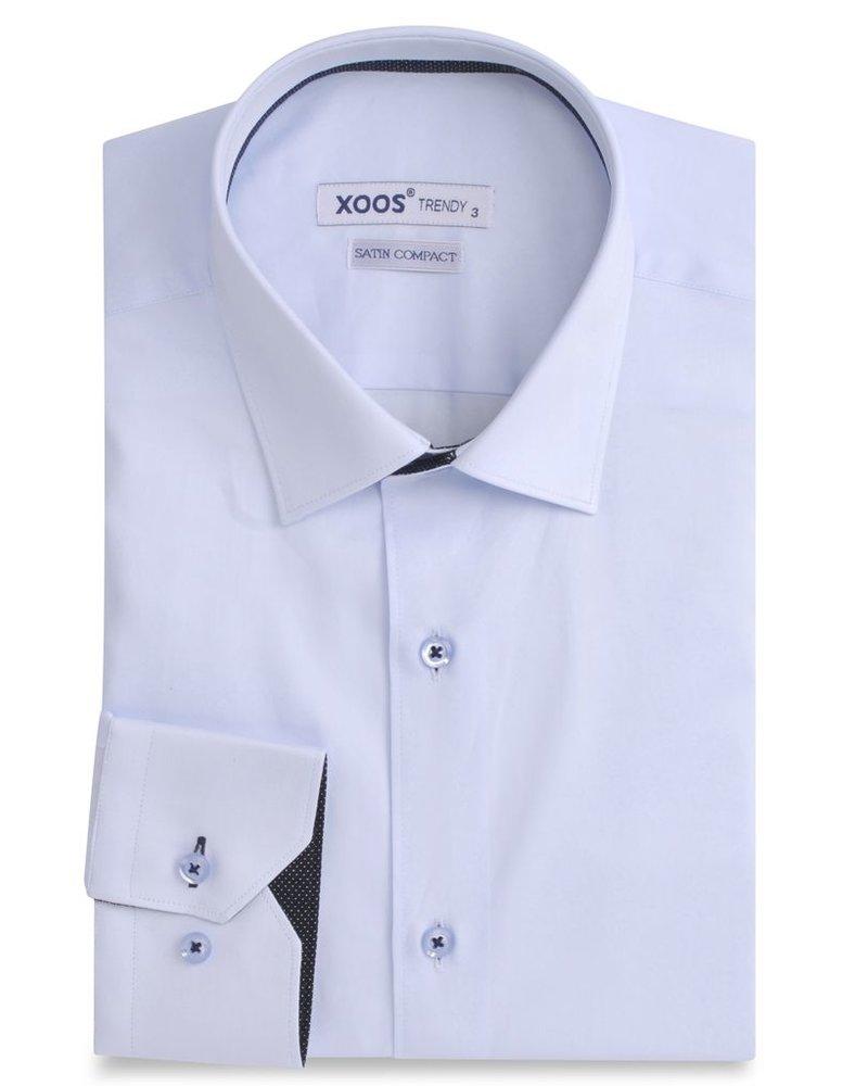 CLASSIC-FIT light blue men's dress shirt navy polka dots braid ...