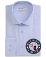 XOOS Light blue double twisted poplin men's dress shirt - NON IRON AND STAIN FREE (NANOCARE)