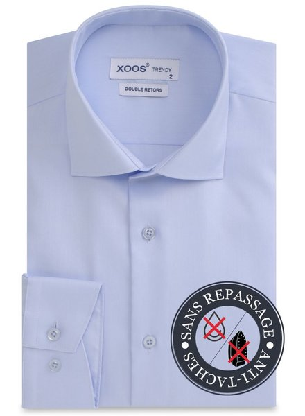 XOOS Light blue double twisted gabardeen men's dress shirt - NON IRON AND STAIN FREE (NANOCARE)