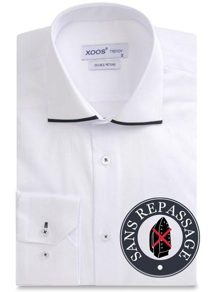 XOOS White NON IRON men's dress shirt black Edge lining (EASY CARE)