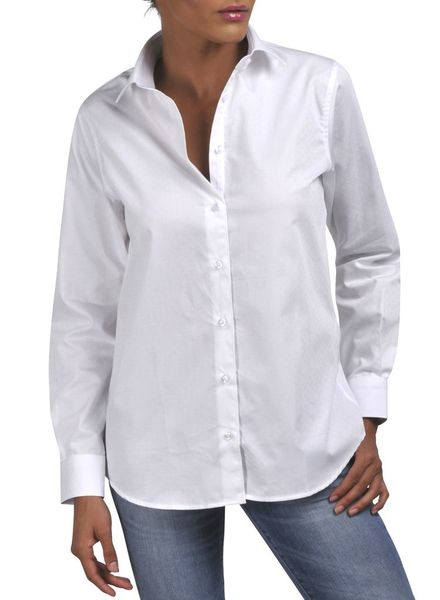 XOOS White WOMEN jacquard patterned shirt (Boyfriend cut)