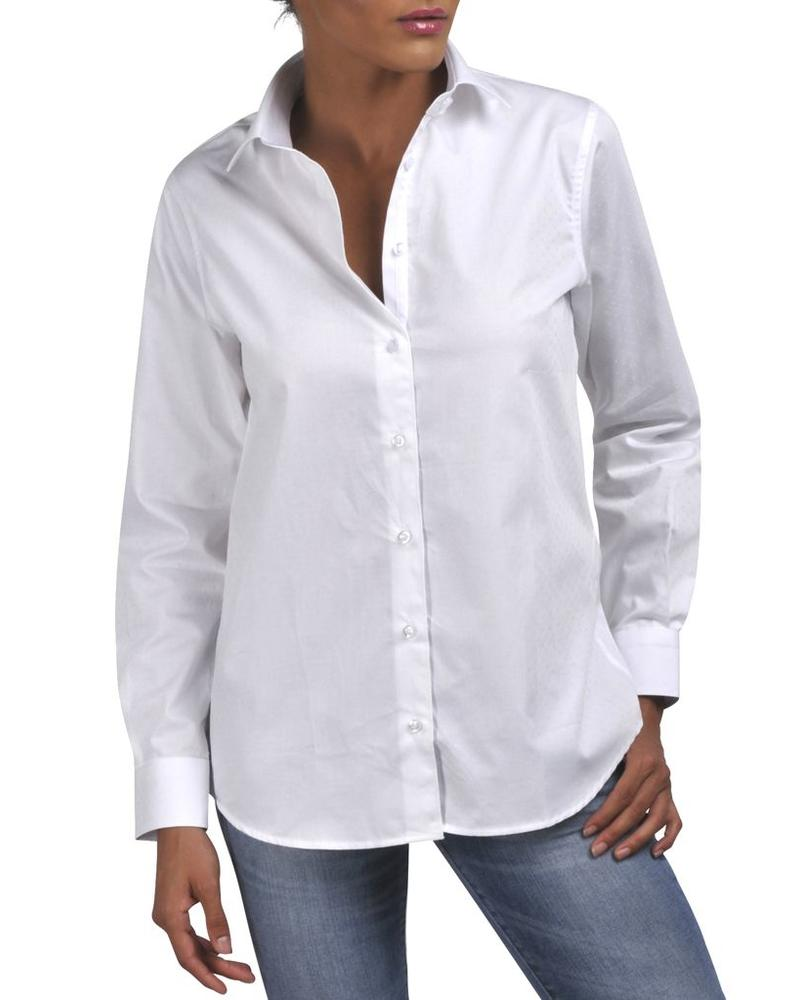 XOOS White WOMEN jacquard patterned shirt (Boyfriend cut)