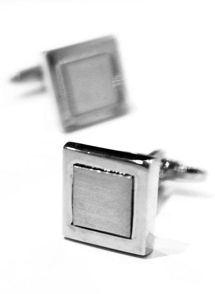XOOS Boutons de manchette carrés en acier brossé