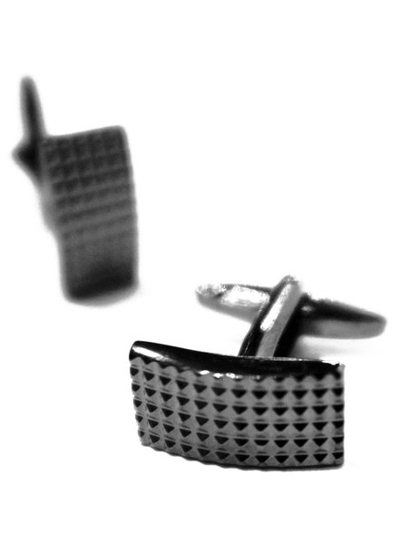 XOOS Black smoked rectangle grip cufflinks