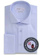 XOOS Light blue double twisted gabardeen French cuffs men's dress shirt - NON IRON AND STAIN FREE (NANOCARE)