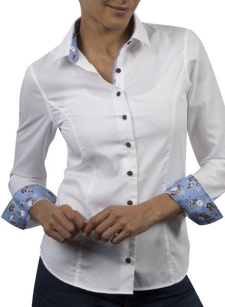 XOOS WOMEN white jacquard patterned shirt lightblue braid flower prints
