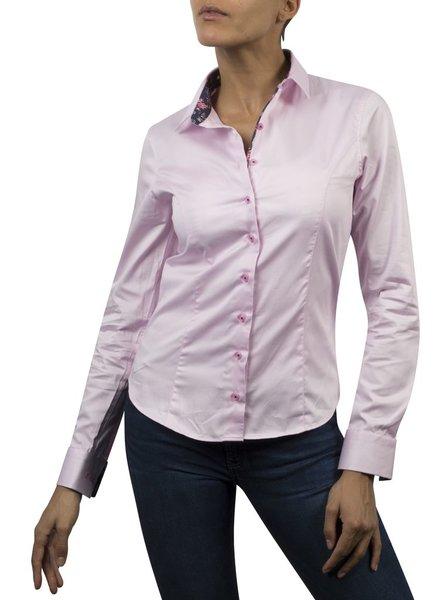 XOOS WOMEN pink dress-shirt Navy flower braid