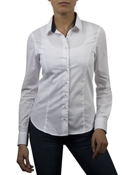 XOOS WOMEN white jacquard patterned shirt Dark blue jacquard braid