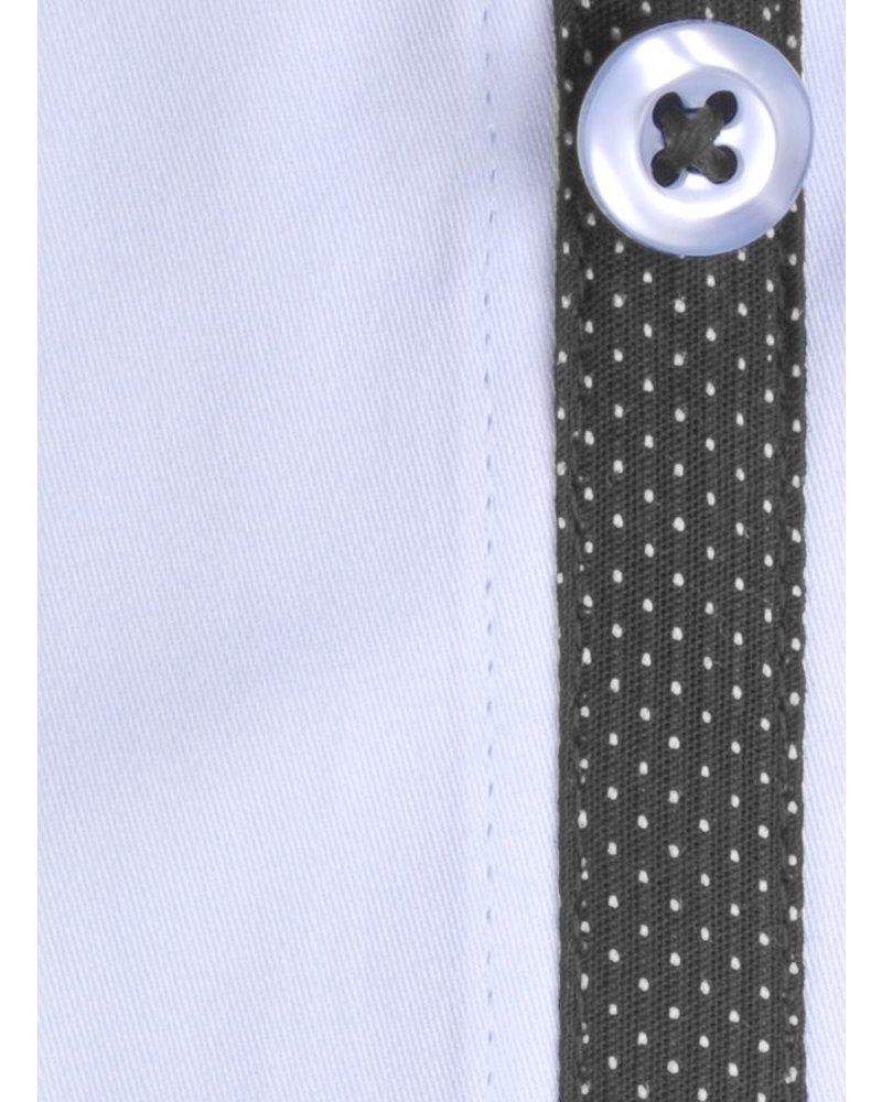 XOOS Blue diamond fitted shirt gray polka dot braid