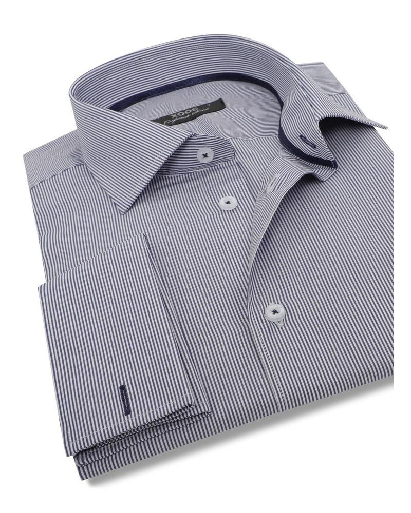 XOOS Navy blue striped men's french cuffs dress shirt