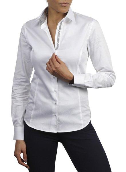 XOOS WOMEN white dress-shirt taupe tartan braid