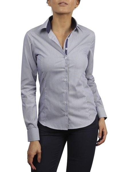 XOOS WOMEN navy striped dress-shirt tone on tone squares lining