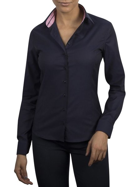 XOOS WOMEN navy dress-shirt Pink Liberty flowers lining