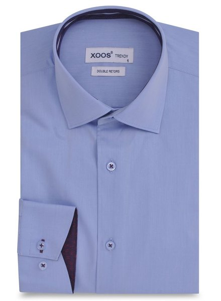 XOOS Blue men's fitted dress shirt mauve jacquard braid (Double twisted)