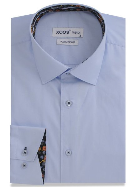 XOOS Blue men's fitted dress shirt Orange flower lining (Double twisted)