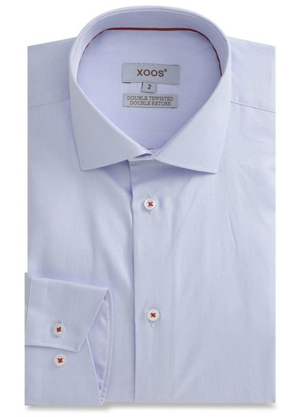 XOOS Blue men's fitted dress shirt white collar stand and red braid (Double Retors)