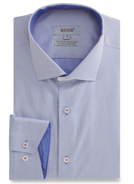 XOOS Blue Chevron men's fitted dress shirt and blue braid (Double Twisted)