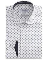 XOOS White men's dress shirt with navy polka dots and navy lining