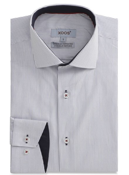 XOOS Navy striped men's fitted dress shirt Navy lining