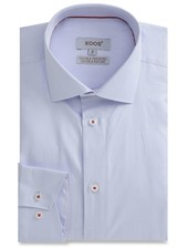 XOOS CLASSIC-FIT blue men's dress shirt white collar stand and red braid (Double Twisted)