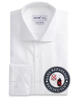XOOS CLASSIC-FIT white men's dress shirt honeycomb cotton - NON IRON AND STAIN FREE (NANOCARE)