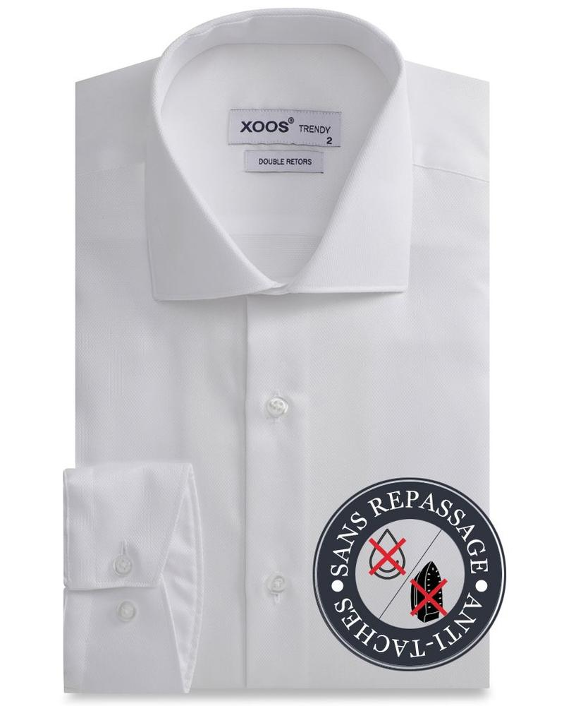 XOOS White men's fitted dress shirt gabardeen cotton - NON IRON AND STAIN FREE (NANOCARE)