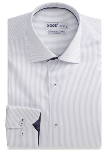 XOOS Chemise homme à fines rayures doublure navy à micro pois