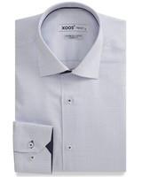 XOOS Checkered men's fitted dress shirt Navy polka dots lining