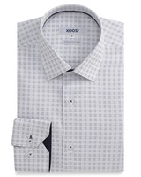 XOOS White checkered men's fitted dress shirt Navy lining in woven cotton (Double Twisted)