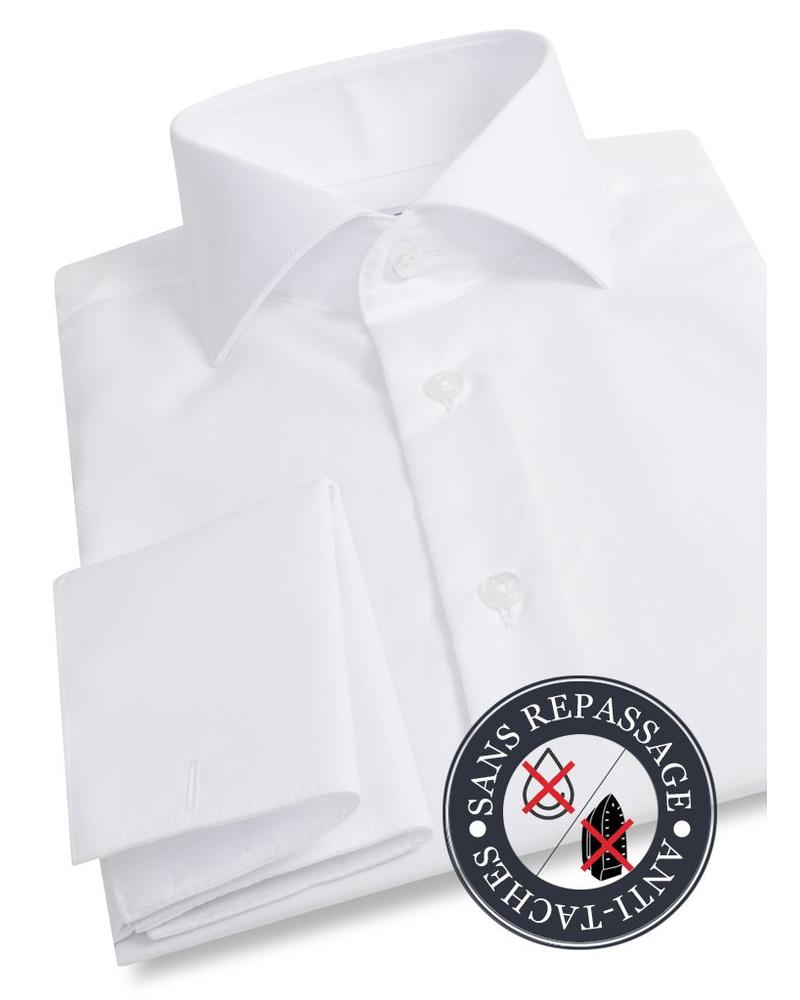 XOOS White double twisted Polin French cuffs men's dress shirt - NON IRON AND STAIN FREE (NANOCARE)