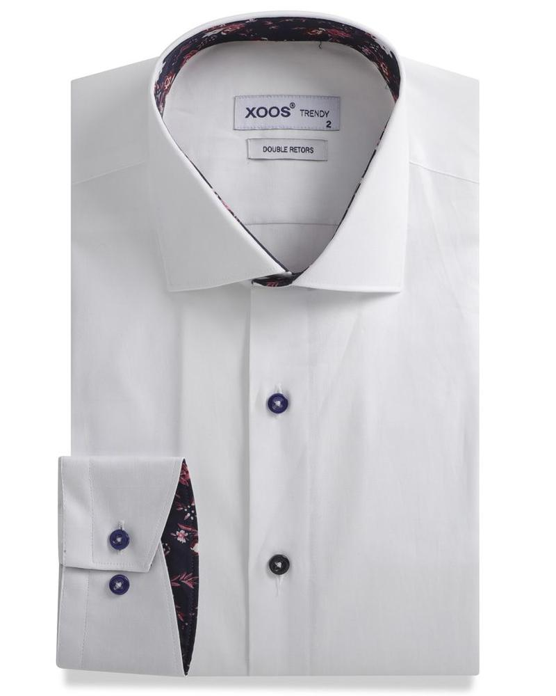 XOOS CLASSIC-FIT white men's dress shirt navy lining with flower prints (Double Twisted)