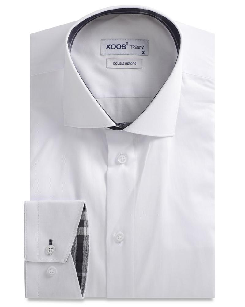 XOOS Chemise NON CINTRÉE blanche doublure à tartan marine (Double Retors)