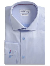XOOS CLASSIC-FIT light blue men's dress shirt red braid (Double Twisted)